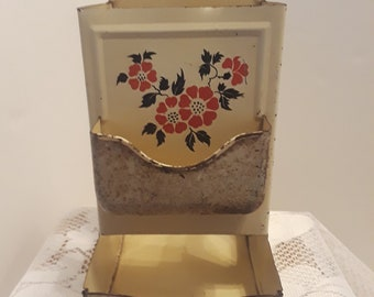 Hall Red Poppy Metal Match Holder, Vintage
