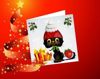 Christmas, new year, lined with cat card: strawberries for Christmas