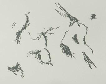 handmade abstract screenprint - Body Landscape - screenprint, abstract, figure, fine art print, wall art