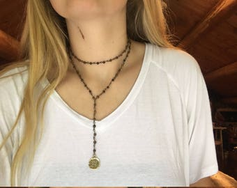 Brown double bead with extension necklace