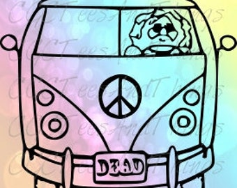 Grateful dead Jerry bus 4x4 adhesive Decal with color option
