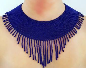 Blue shiny beaded Necklace