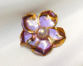 Flower cabochon * delicate purple and gold * N ° 1
