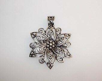 Silver Flower pendant 6 petals, 65 mm, floral decoration. (4952031)