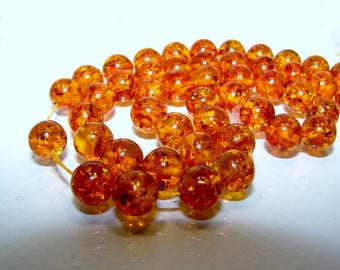 Amber bead ball 7.5 mm. Semi precious stone.