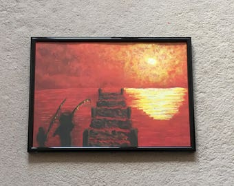 Sunset Scenes - Original Artwork - Acrylic Painting - Fisherman and Child