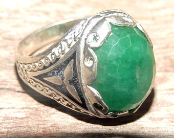 925 sterling silver mens ring natural green EMERALD stone