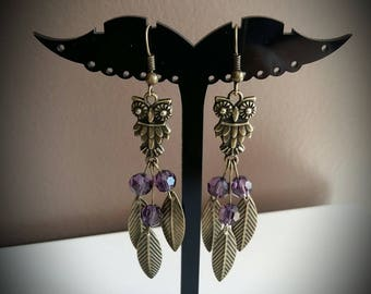 Bronze OWL earrings leaves purple facets