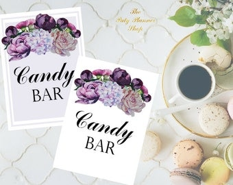 Candy Bar Sign 8x10 and 5x7 size Printable PDF,peonies Floral Watercolor Sign, Bridal Shower Sign, Wedding Reception Sign - Printable PDF