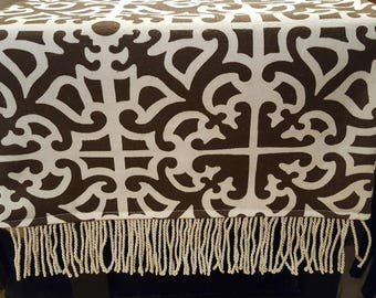 Brown and Cream Patterned Table Runner/Dresser Scarf