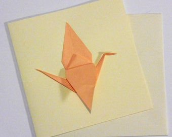 Greeting card peach double 15cm - Origami Japanese paper - crane - best wishes