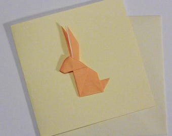 Greeting card double 15cm - rabbit origami peach - best wishes
