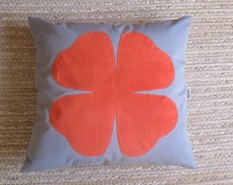 """Pillowcase """"Lucky"""" clover orange"""