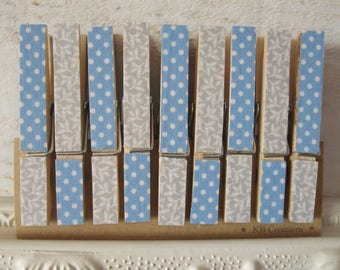 9 clips decorated linen (No. 57) grey / blue