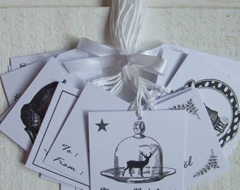 Set of 20 labels square White Christmas