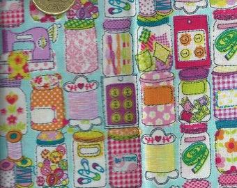 FASHION fabric (coupon 55 x 50 cm)-jars buttons coils Machines - 100% Cotton Patch