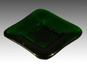 Green Fused Glass Shallow Dish
