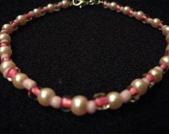 320. Delicate Glass Pearl, Seed, & N-bead, Beaded Bracelet