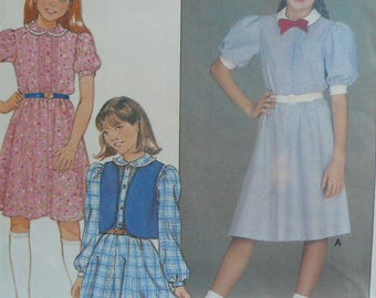 Girl's Dress and Vest Sewing Pattern - Vintage Butterick 6481 (circa 1980s) - Size 10