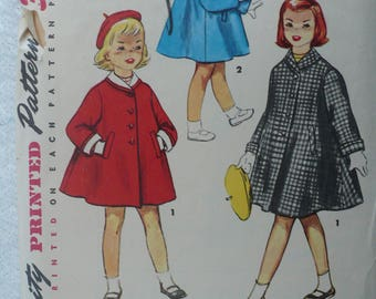 Girl's, Children's Coat and Beret Pattern, Vintage Simplicity 4576,  Size 1 - 1950's