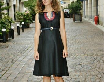 Round neck elesthane polyester dress