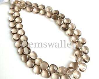 Smoky Quartz Cabochon Brioletts Beads, Smoky Quartz Oval Briolette 7 Inch, 6 mm, Smooth Cabochon, 1 Strand Beads.