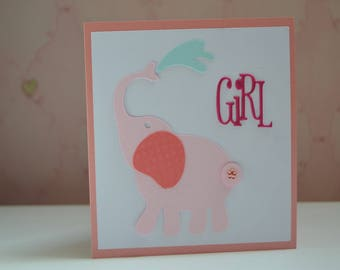 Card congratulations baby girl pink elephant