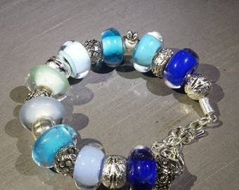 In shades of blue glass bracelet. Lampwork Glass Beads
