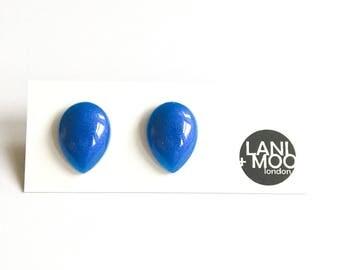Teardrop Pearl Blue Resin Stud Statement Earrings!
