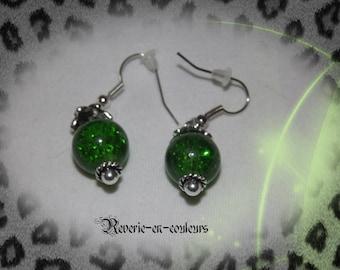 Crackle glass bead earrings