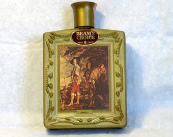 Collectible Jim Beam Choice Decanter Bottle Gold Crackle Paint Charles I by Van Dyck Beams Collector's Edition Vol. 6 Gilded Glass Bottle