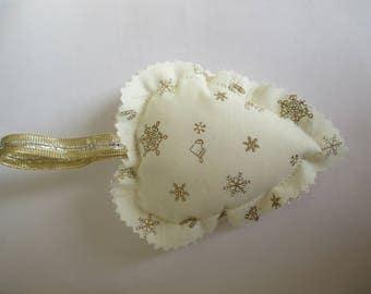 2 Christmas fabric hearts to hang