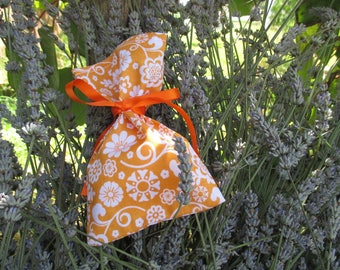 orange and white Lavender filled sachet bag