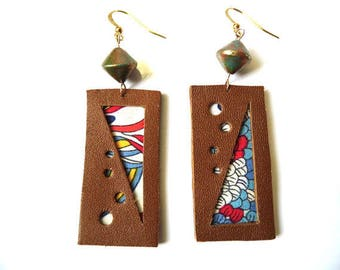 Earrings leather and fabric