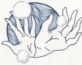 "Felt Pen Illustration, Wall Decoration, Hand Study ""Gyspsy"""