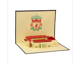 Handmade 3D popup pop up origami papercraft art Liverpool football stadium club birthday Valentines day father's day card bachelor party him