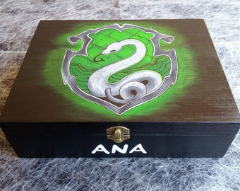 Custom Harry Potter Box - Wooden Jewelry Box - Smart Box - Slytherin Box - Customized Wooden Box