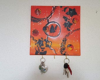 Table Keychain red tones Orange Butterfly decoration