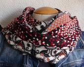 Col snood écharpe F364 Tissus fluides légers à motifs ethniques et rouge et noir à motifs géométriques