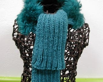 Blue knitted wool faux fur scarf