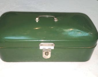 Vintage Dutch Green enamel Bread Box Model -1960' s
