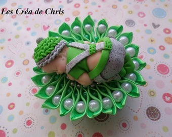 fabric backing and her baby in polymer clay.