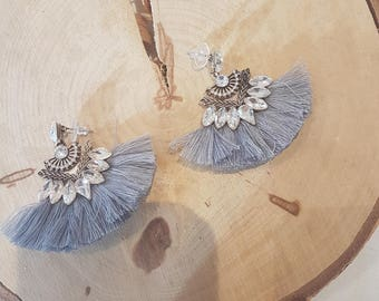 Gray tassel earring