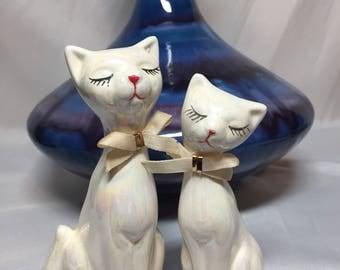 Vintage Iridescent Retro MCM Cat Figurines - set of two
