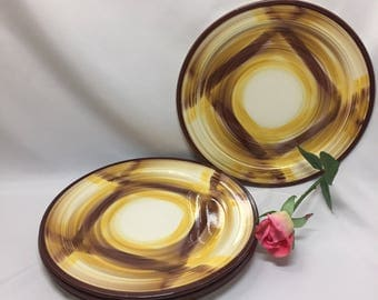 "Dinner Plates 9 1/2"" Vernon Kilns Organdie Yellow and Brown  - set of 4"