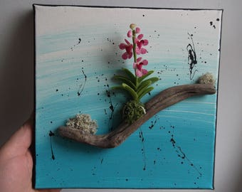 3D canvas acrylic painting with Orchid in fimo on a branch