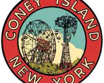 Vintage Style Coney Island New York red Travel Decal sticker