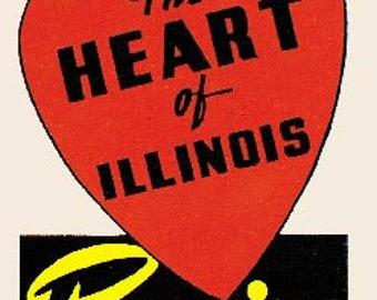 Vintage Style Peoria IL Illinois   Travel Decal sticker
