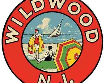 Vintage Style Wildwood By The Sea  NJ New Jersey beach shore   Travel Decal sticker