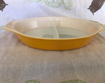 Vintage 1960s PYREX Cinderella Divided Casserole Dish Yellow